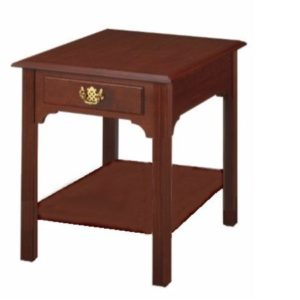 Chippendale: Rectangular End Table With Drawer & Shelf