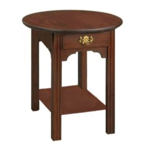 Chippendale: Round End Table With Drawer And Shelf