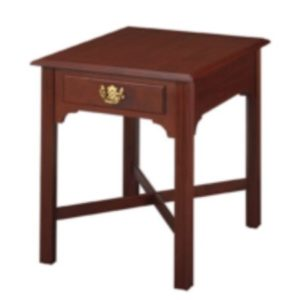 Chippendale: Rectangular End Table With Drawer & Stretchers