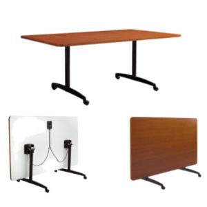 Flip Top Table With Casters & Handle Release