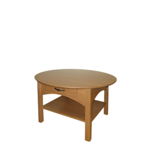Mill Creek: Round Coffee Table With Drawer And Shelf