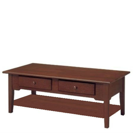 SHAKER RECTANGULAR COFFEE TABLE WITH SHELF AND DRAWER