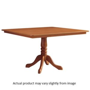 WOOD PEDESTAL BASE TABLE WITH SQUARE TOP