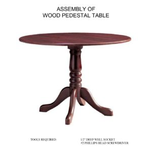 WOOD PEDESTAL TABLE ASSEMBLY INSTRUCTIONS