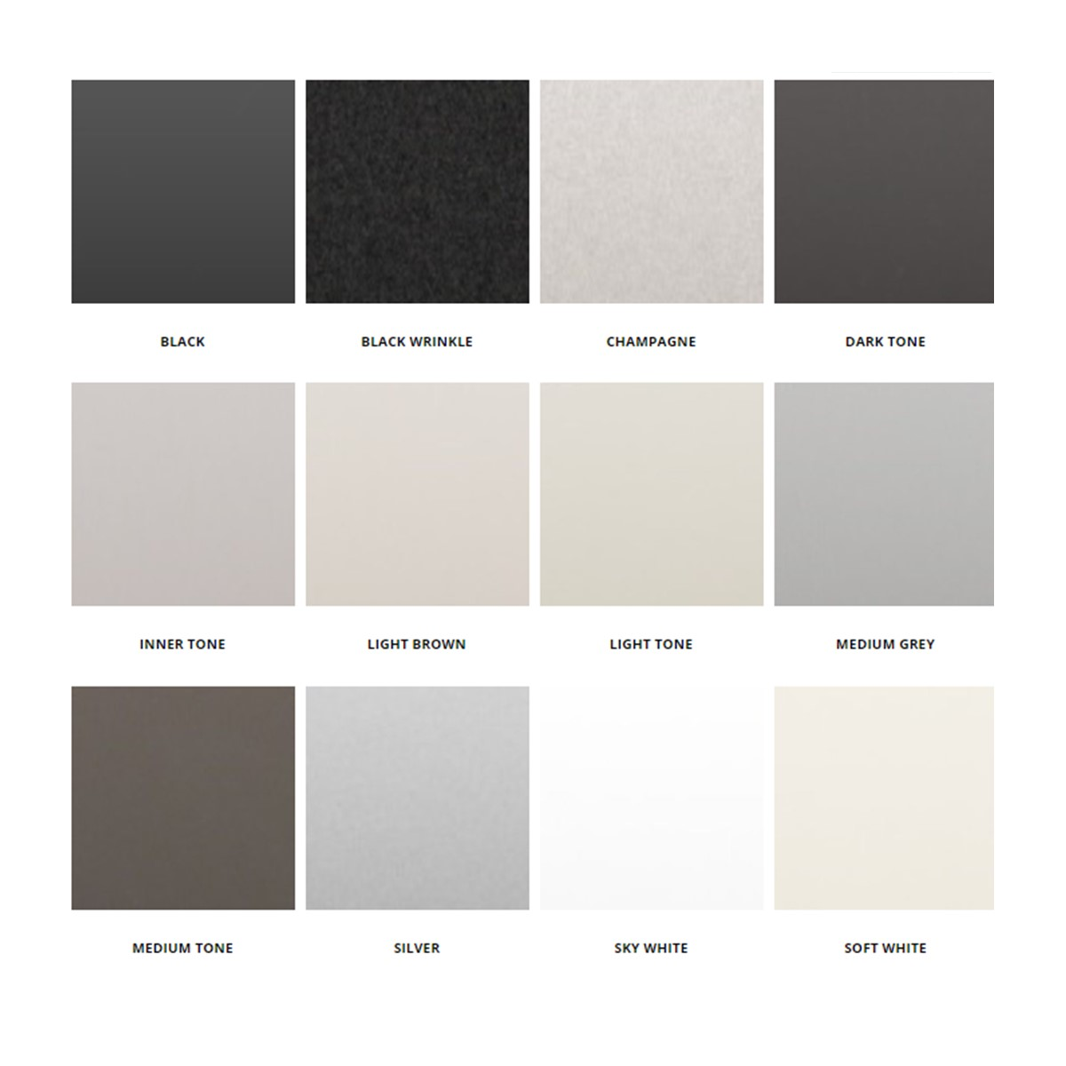 A-METAL FINISH SELECTIONS