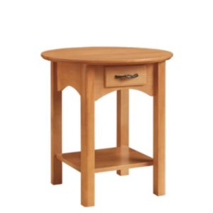 Mill Creek: Round End Table With Drawer And Shelf