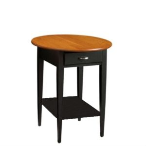 Saxony: Round End Table With Drawer & Shelf