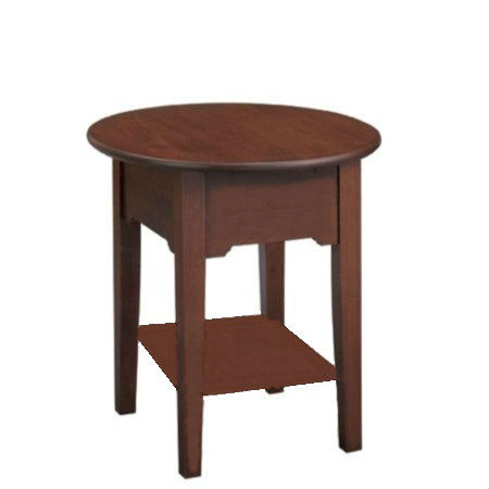 Shaker Round End Table No Drawer With Shelf
