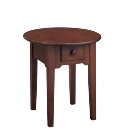 Shaker Round End Table With Drawer